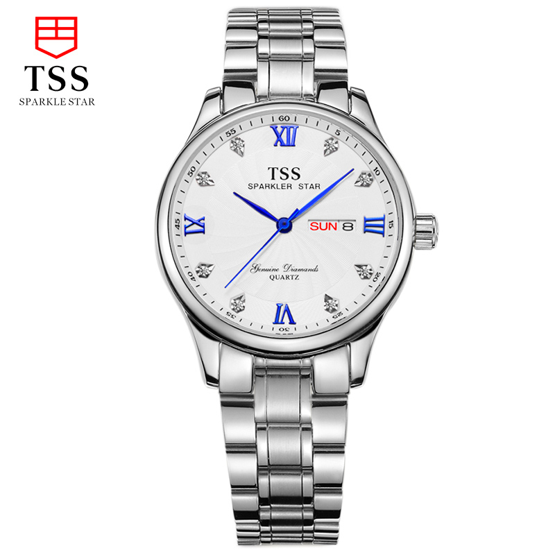 TSS master collection diamond steel watch couple table male watch quartz watch fashion couple watches stainless steel master series trine steel c ring collection package of 4