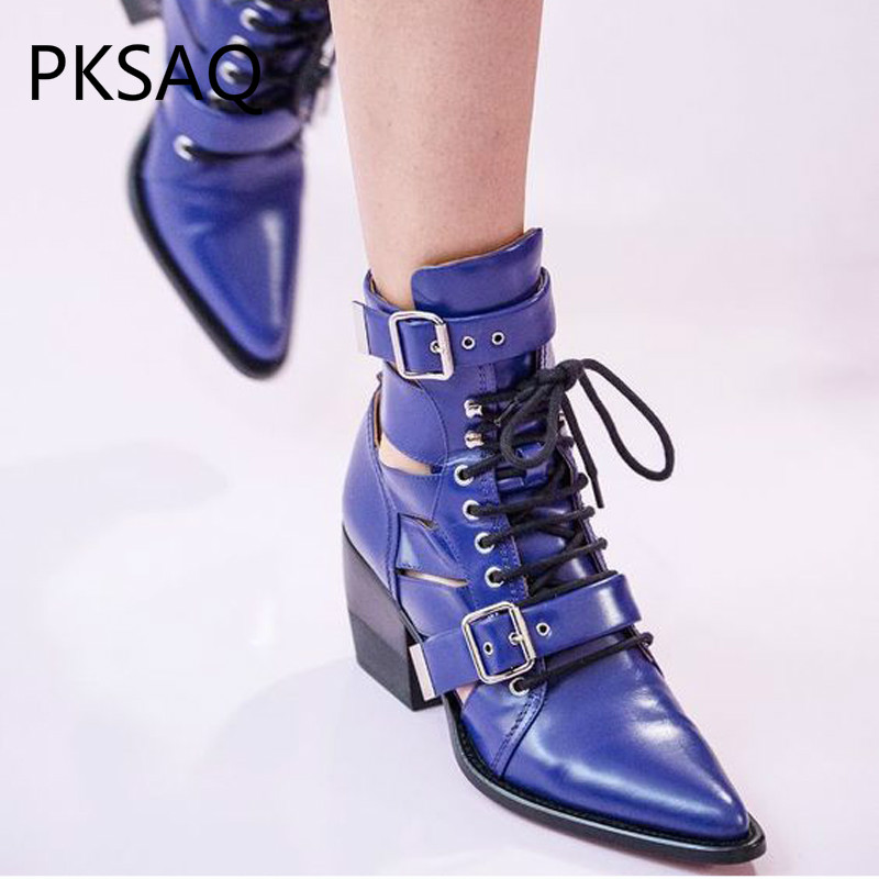 Autumn Winter New Street Photo Pointed Toe Lace-up Boots Shoes Genuine Leather High Heels Motorcycle Boots Square Heel Shoes