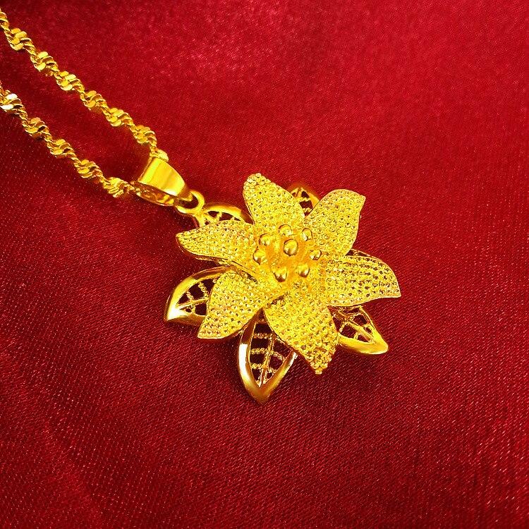 Pavão, bola, colar de pingente de flor, Vietnamita de areia de ouro, a onda de água clavícula colar, colar de ouro, moda de jóias por atacado