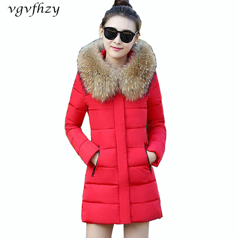 Winter Jacket Female 2017 New Wadded Jacket Thick Long Warm fur collar Cotton Padded Coats Parka Women Coat Plus Size Outerwear x long cotton padded jacket female faux fur hooded thick parka warm winter jacket women solid color wadded coat outerwear tt763