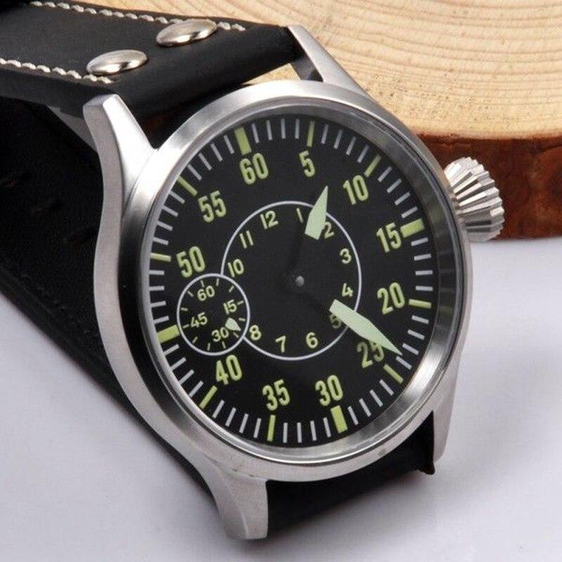 0a4464dd2c3 44mm caso stainelss aço Vidro de Safira Mostrador Preto Luminosa Mão  Enrolamento 6497 Relógio dos homens