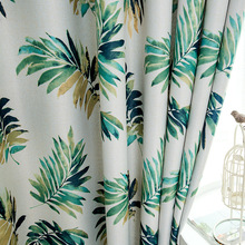 New Nordic Wind Simple Idyllic Ins Style Leaf-pattern Shading Curtains for Living Room Bedroom Home Decoration Accessories