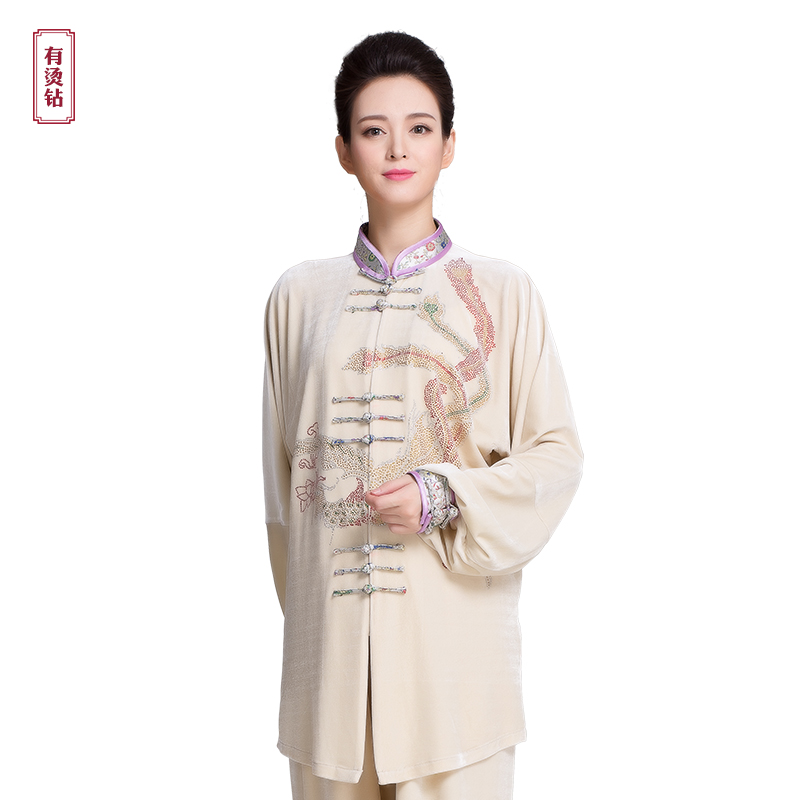 Women Winter Martial Art Suits Tai Chi Clothes Kungfu Clothing Warm Wushu Costume Taiji Uniform Rhinestone Pattern 5 color