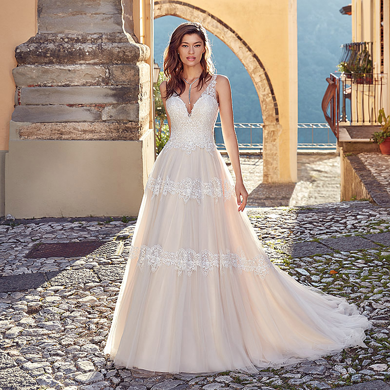 LORIE  A Line  Wedding Dress Sexy V Neck Tulle Backless Princess Bride Dress Long Wedding Gown Boho Wedding Gowns