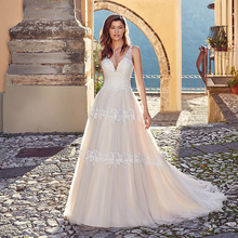LORIE  A Line Wedding Dress Sexy V Neck Tulle Backless Princess Bride Long Gown Boho Gowns
