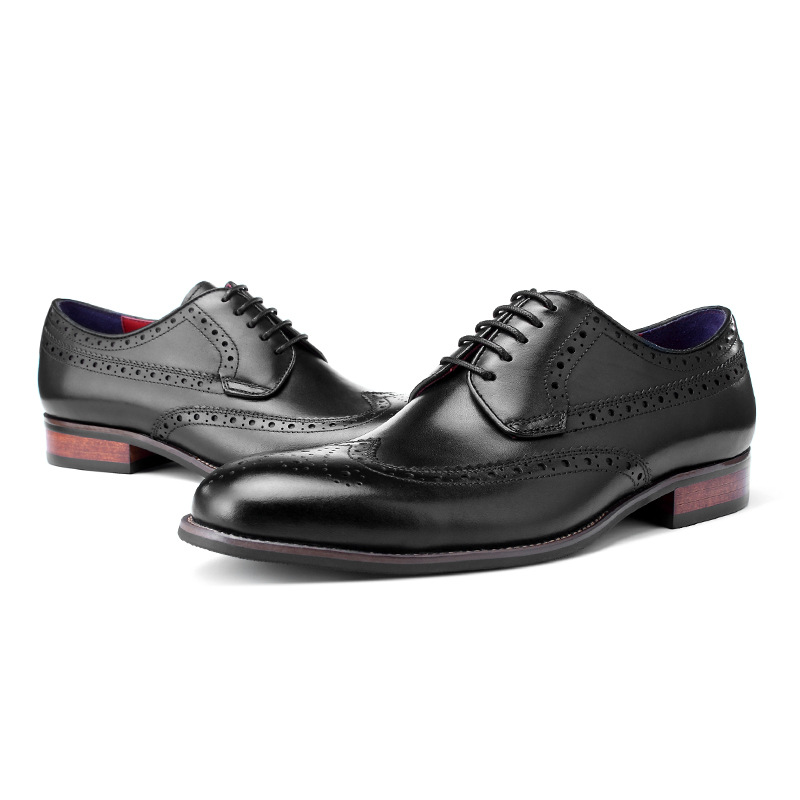 QYFCIOUFU 2019 New Handmade Brogue Oxford Shoes Men 39 s Genuine Cow Leather Wedding Office Vintage Dress Shoes Formal Footwear in Formal Shoes from Shoes