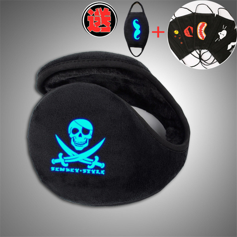 Skull Pirates Unisex New Men Style Black Earmuff Winter Ear Muff Luminous Wrap Band Warmer Grip Earlap With Free Mask Gift
