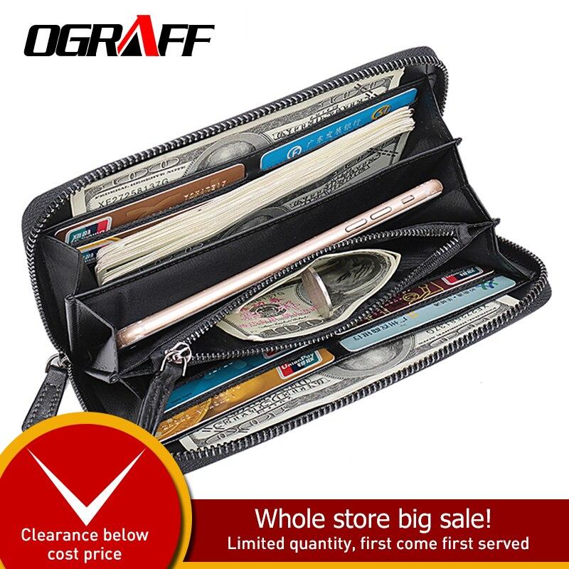 OGRAFF Long Mens Wallet Leather Genuine Coin Purse Men Clutch Male credit card holder Money Bag Phone Wallet Big Walet Business
