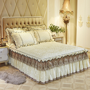 Image 2 - 160X200cm צמר כיסוי מיטה מרופדת Bedskirt תאום מלכת מלך גודל מיטת סדין מיטת כיסוי parure דה מואר adulte ropa de cama