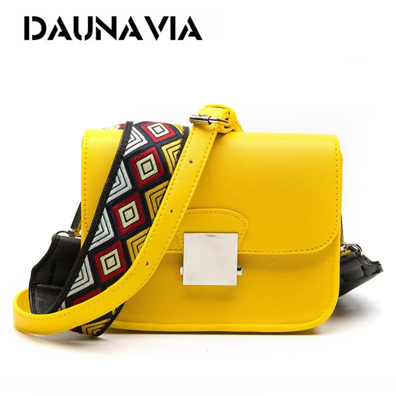 DAUNAVIA бренд Курьерские сумки Для женщин клапаном PU кожа сумки на ремне с Два ремешка высококачественные шлепанцы; горячая Распродажа сумки ч...
