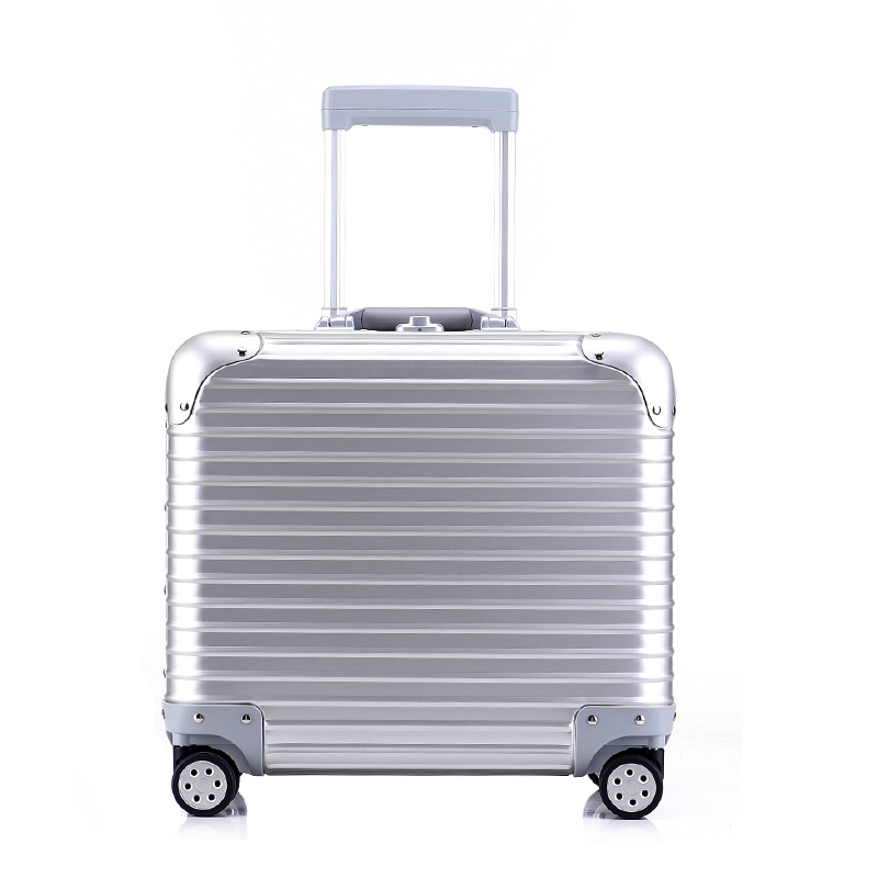 Fashion new 18-inch metal check-in luggage Aluminum magnesium alloy board box luggage Keep rolling suitcase 20 25 29 aluminum magnesium alloy metal luggage fashion spinner rolling suitcase business aluminum frame luggage