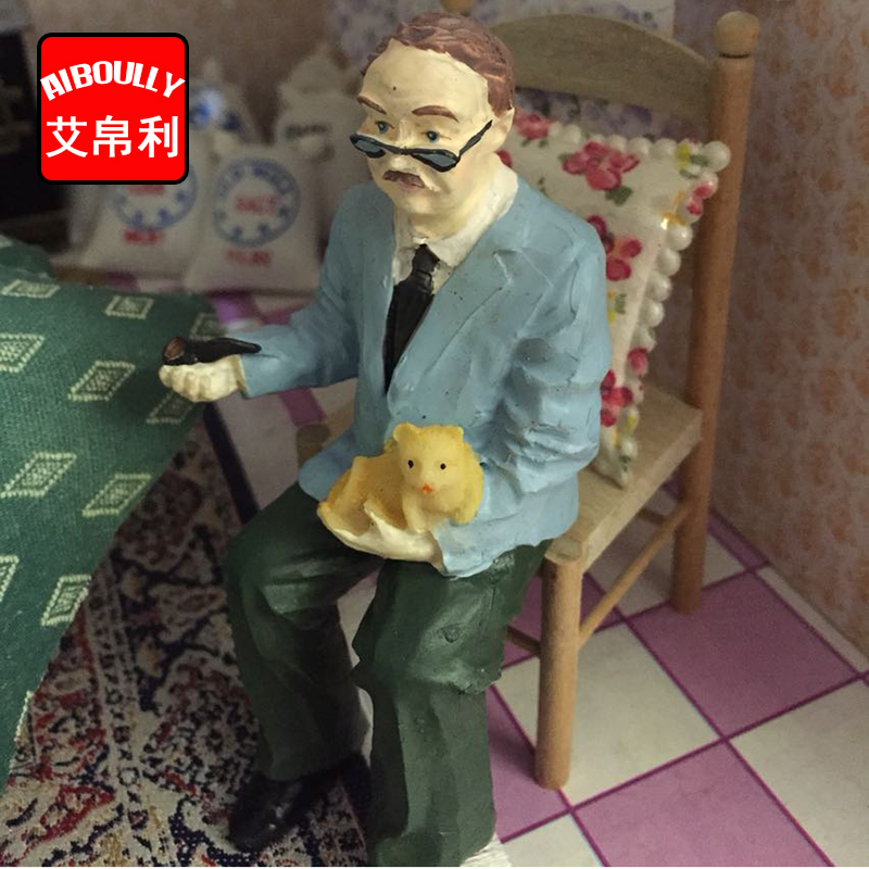 1:12 Dollhouse Accessories Dolls series Seated Grandpa Doll house Girls Toys Dollhouse Miniature Kids Child Play Toys