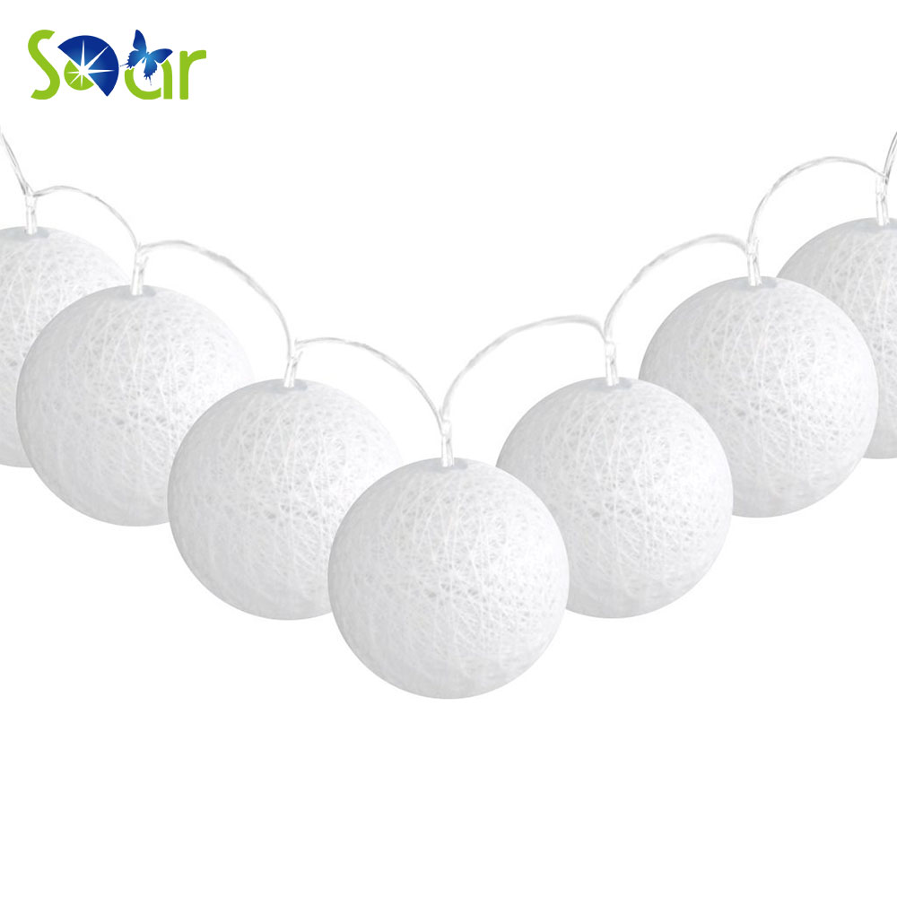 7.22ft Battery Powered 20 LED Cotton Ball Globe String Light Warm White Glow for Indoor Christmas Party Wedding Holiday Festival
