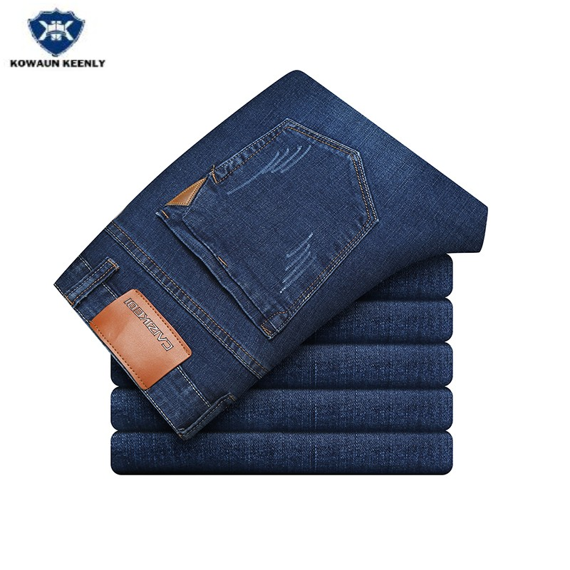 Kowaunkeenly 2018 new arrival Mens Business Casual Stretch Jeans,high quality Simple straight blue jeans pants men,size 28-38.