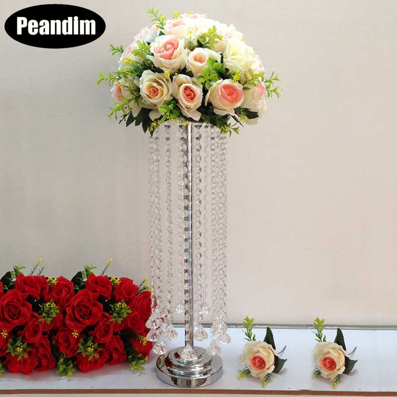 PEANDIM 55cm Tall Acrylic Wedding Table Centerpiece Home Party Wedding Flowers Decor Road Leads Flower Rank