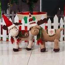 Новогодние товары Аксессуары Лось стоял Куклы Новогодние товары статуэтки, украшения для дома Рождественский подарок для детей Navidad decoraciones