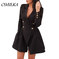 OMILKA 2017 Autumn Winter Women Long Sleeve Notched Button Bandage Dress Casual Black Red Streetwear Split