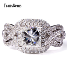 Transgems 2.6 Ctw DEF Moissanite With Genuine Loose Engagement Ring Set For Women Princess Cut Square Freeshipping