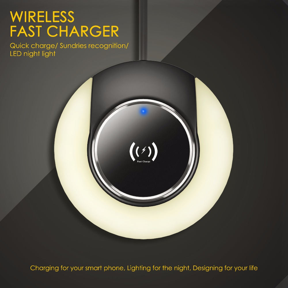 Desktop qi wireless charger mobile stand night light combo Universal 10W fast charging smart touch memory function Nightlight