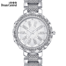 Dreamcarnival 1989 Brand New Crystal Alloy Watch for Women Top Quality Metal Bracelet Style Luxury Gold Color Quartz Clock A8358
