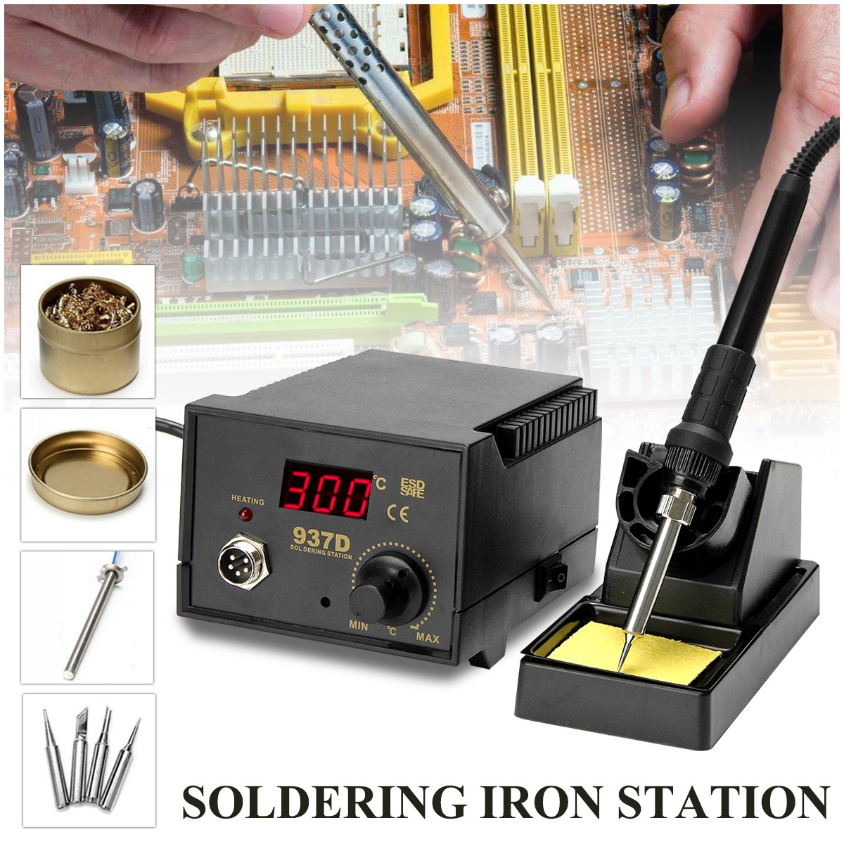 High quality 937D 220V 75W Digital Display Soldering Iron Station 4 Tip Lead Welding Tool Kit цена