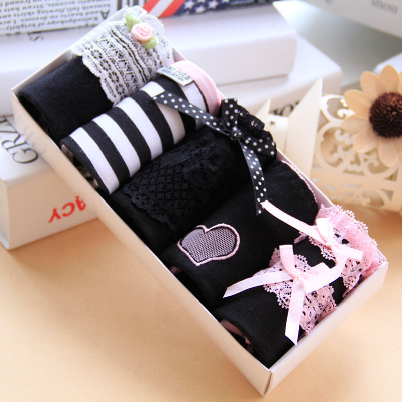 Girls   Panties   New Female Casual Cute cotton women's underwear combination black   Panty   FZA0108