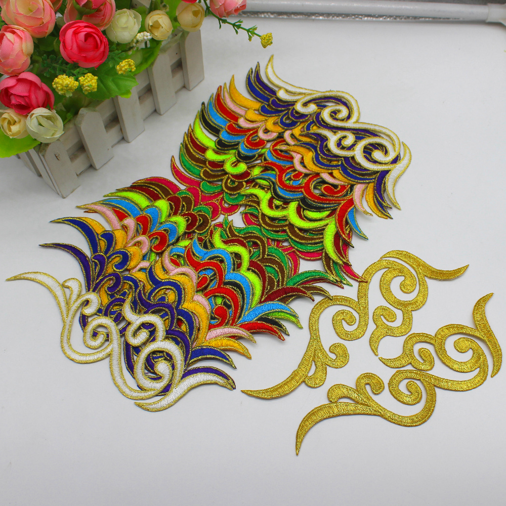 Iron On Appliques 10 Pairs Gold Embroidered Trims Diy Cosplay Dress Lace Trim Mirrow Pair Flower Patches Pad 18cm-5.0cm