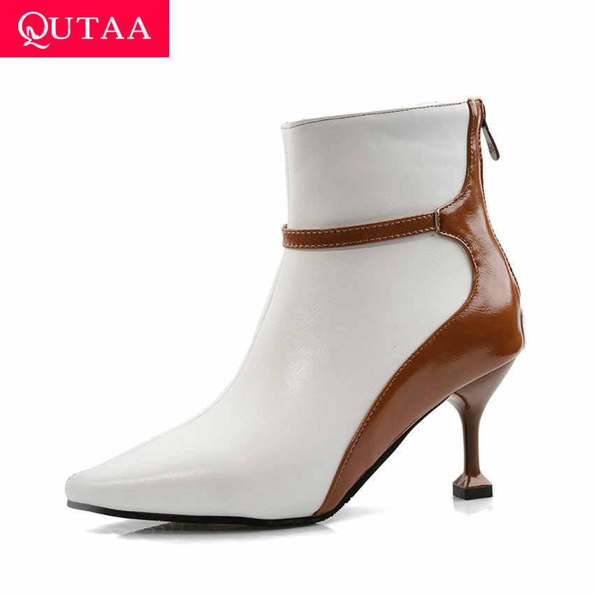 QUTAA 2020 Fermuarlı Karışık Renk Sonbahar Kış Moda yarım çizmeler PU Deri Seksi Sivri Burun Ince Yüksek Topuk Kadın Ayakkabı Size34-43
