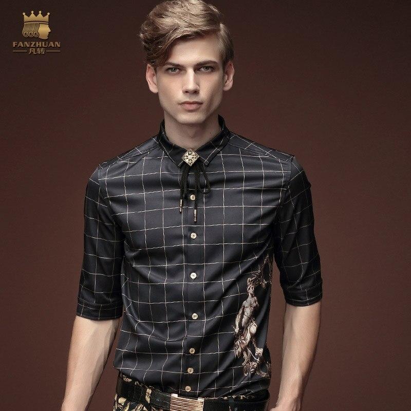 Free Shipping New fanzhuan men's male half sleeve fashion casual five summer man blouse black plaid shirt slim 15366 promotion