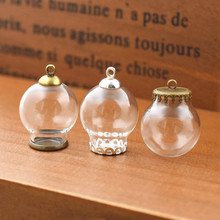 5set 20*12mm hollow glass globe with setting base beads cap set orb vials pendant bottle jewelry