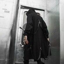 Весна-Осень, мужской длинный плащ в стиле панк, хип-хоп, с лентами, в стиле пэчворк, с капюшоном, черный, в стиле хип-хоп, на молнии, длинная куртка, пальто