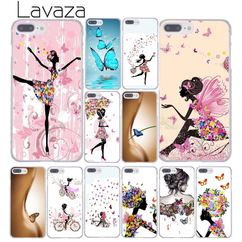 Lavaza бабочка Танцы девушка эффект жесткий Coque Shell Телефон чехол для Apple iPhone 8 7 6 6 S Plus X 10 5 5S SE 5C 4 4S крышка