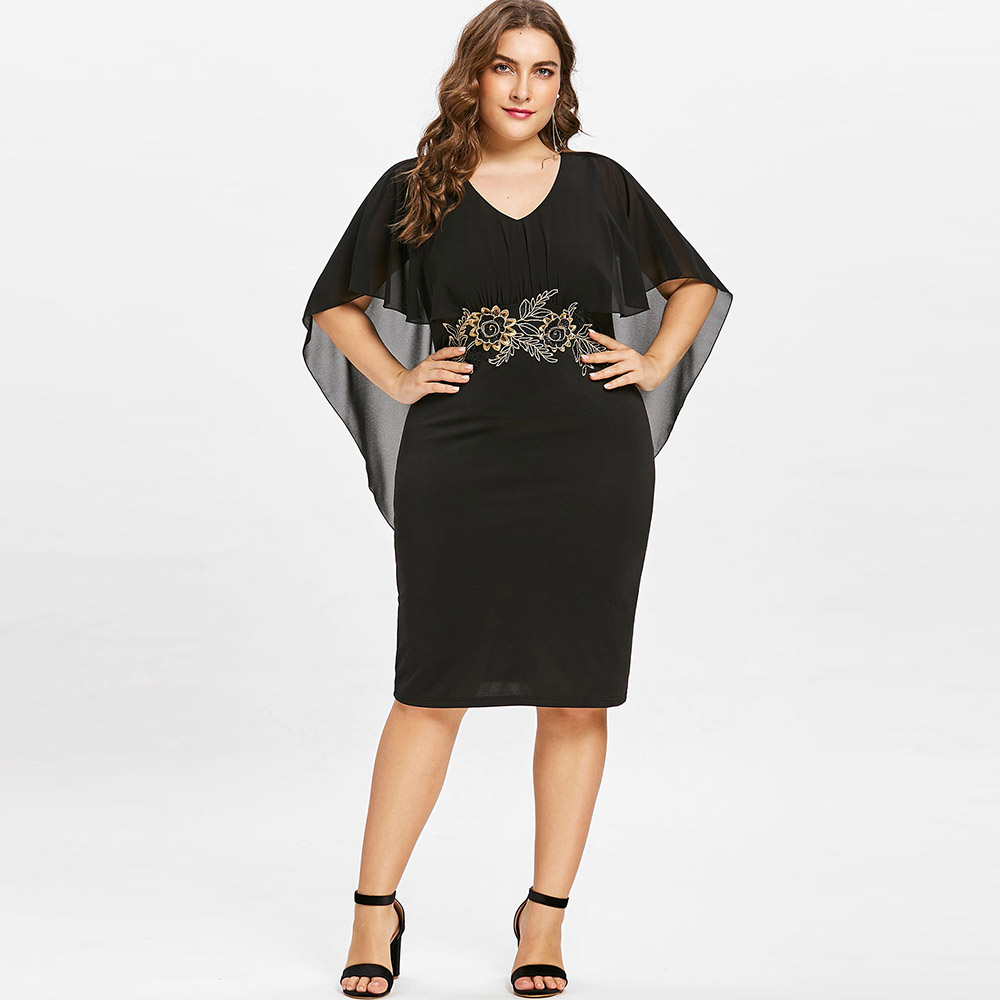 Industrious Rosegal Women Fashions Plus Size 5xl Embroidery Capelet Semi Sheer V Neck Party Dress Half Sleeve Sheath Dress Vestidos Big Size Warm And Windproof Women's Clothing