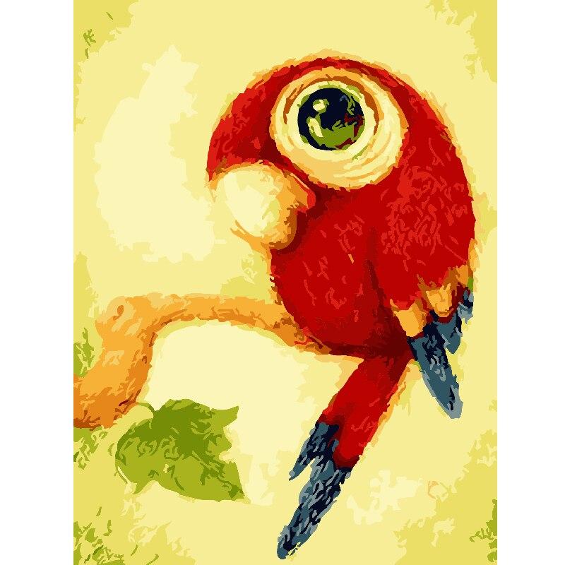 Binatang Tanpa Bingkai Lucu Burung Beo Lukisan Dengan Bilangan