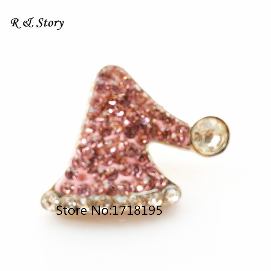 Snap Button For Bracelet Necklace Jewelry Pink Crystal Santas Hat Christmas Collection New 2018