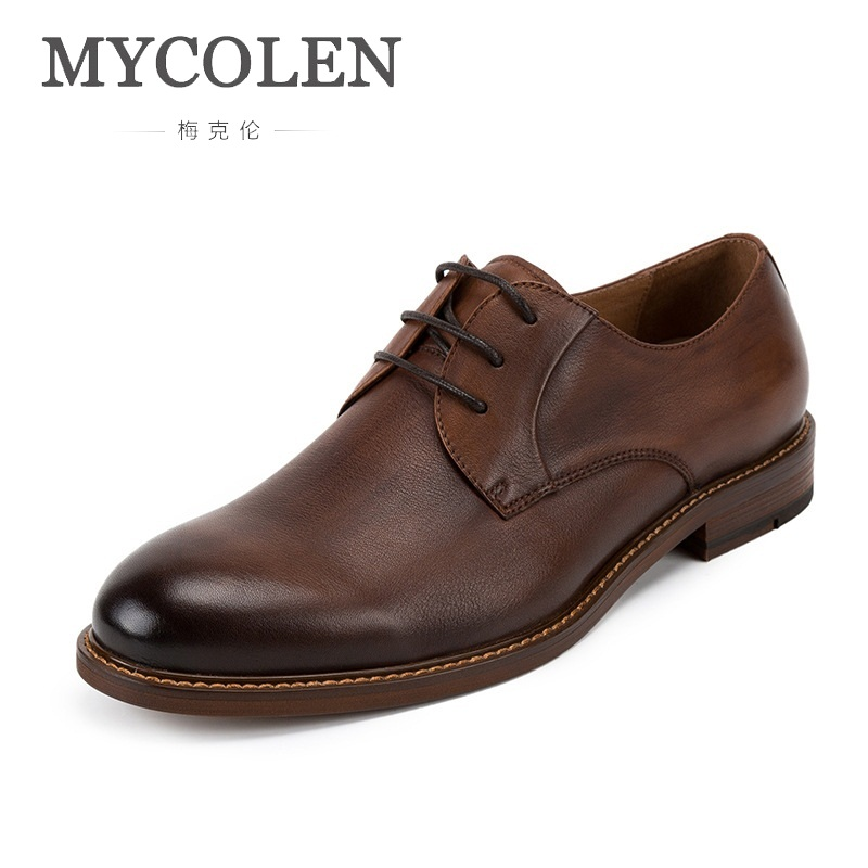 MYCOLEN Men Genuine Leather Dress Shoes Brand Designer British Style Round Toe Formal Wedding Lace-Up Casual Cow Leather Shoes