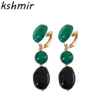 Resin round pearl fashion high contrast color earrings joker contracted female ear  with no hole