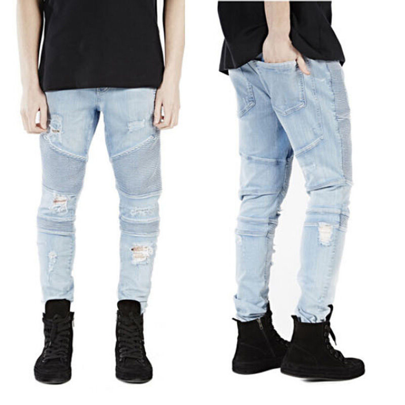 2017 New Fashion Men s Skinny Runway Straight Zipper Denim Jeans Destroyed Ripped Jeans Trousers