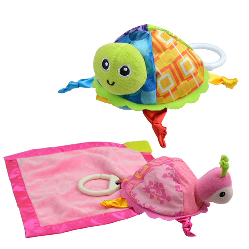 Baby Cute Turtle Rattles Infant Appease Towel For Crib Stroller Hanging Pacify Comforting Dolls Pinafore Turtle Toy