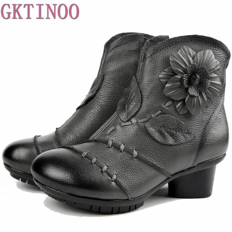 2017 High Quality Mujer Chaussure Women Genuine Leather Boots Casual Ladies Handmade Women Ankle Boots Fur