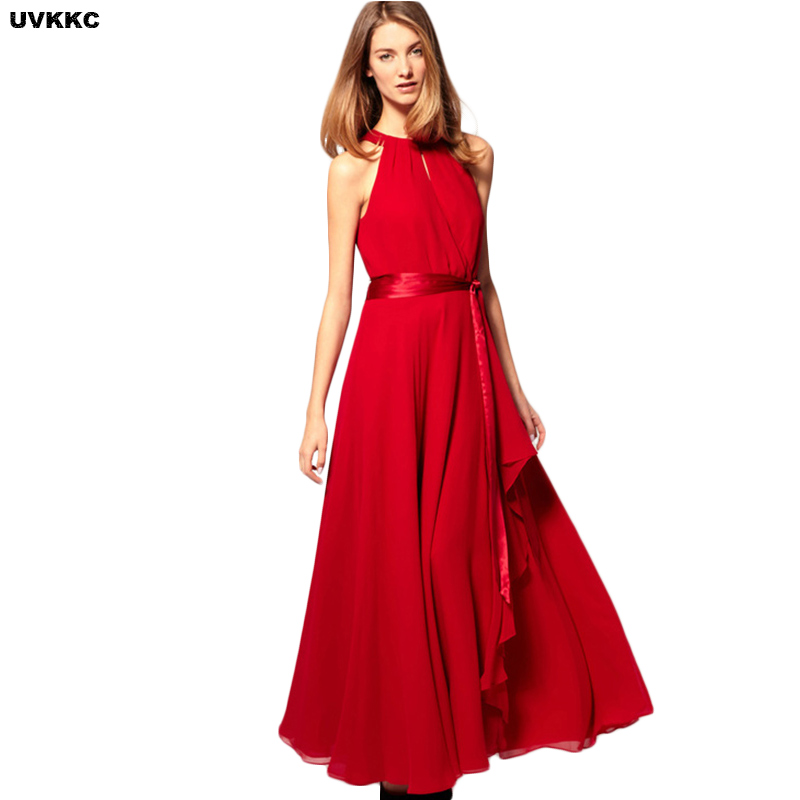 UVKKC Summer Women Dresses Chiffon Long Dress Sleeveless Maxi Formal Wedding Party Bridesmaid Wear In From Womens
