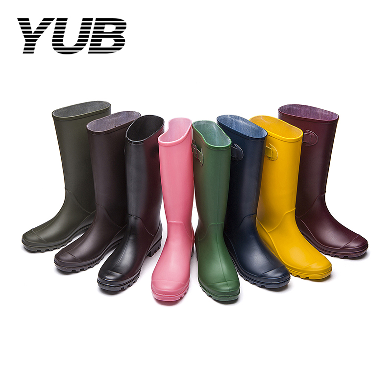 YUB Brand Lady's Winter Rain Boots PVC Waterproof Women Mid Calf Winter Boots Anti-Slip 8 Colors Rubber Shoes Size 6-9 yub brand waterproof rain boots for women with solid color slip on winter mid calf shoes for girls