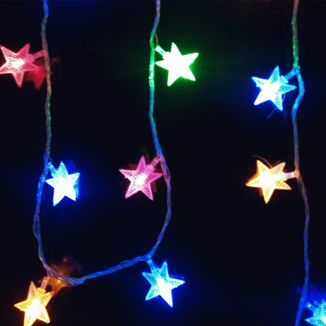 new hot star shaped theme 220v powered 52 led string fairy lights christmas lighting wedding decoration