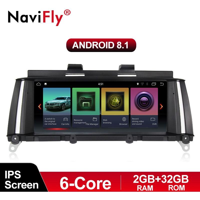 NaviFly IPS 6 core 2G + 32G Android 8.1 lecteur multimédia autoradio pour BMW X3 F25 X4 F26 2011-2017 système Original CIC NBT de voiture