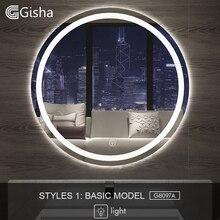 Gisha חכם מראה LED אמבטיה מראה קיר מראה בחדר אמבטיה אמבטיה אסלה אנטי ערפל מראה עם מסך מגע Bluetooth G8097
