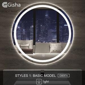 Image 1 - Gisha חכם מראה LED אמבטיה מראה קיר מראה בחדר אמבטיה אמבטיה אסלה אנטי ערפל מראה עם מסך מגע Bluetooth G8097