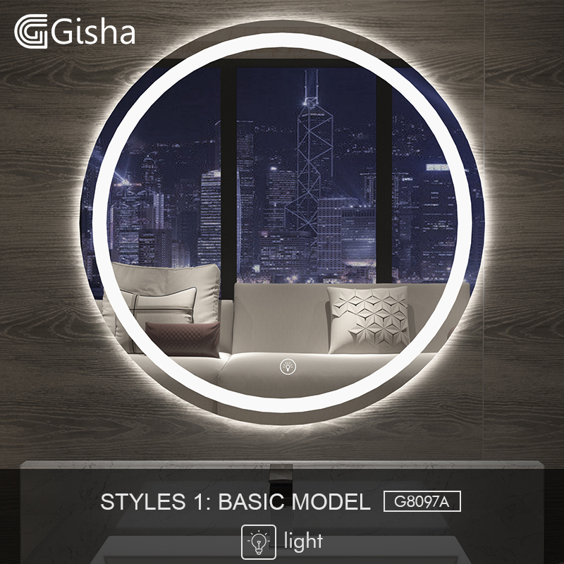 Gisha Smart Mirror Led Bathroom Mirror Wall Bathroom Mirror Bathroom Toilet Anti-fog Mirror With Touch Screen Bluetooth G8097 Suitable For Men Women And Children