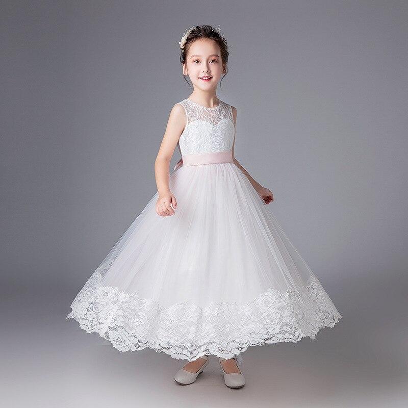 2581 40 De Descuento2019 Vestidos De Fiesta Largos Para Niñas 12 Años Niña Flor Blanca Boda Elegantes Vestidos Formales Ropa De Fiesta Ropa De
