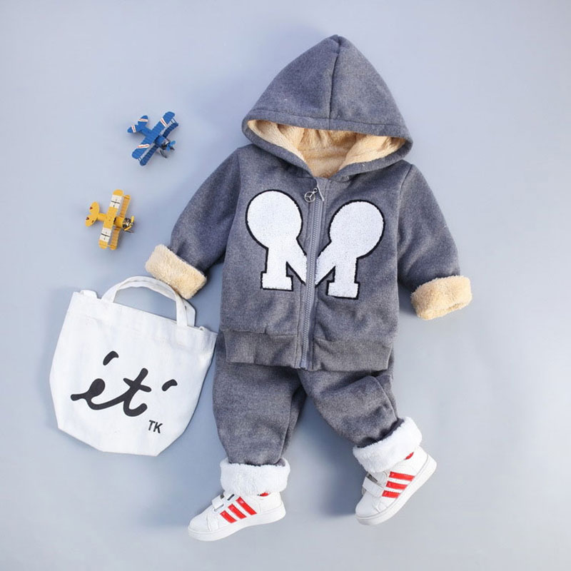 Newborns Baby Boy Autumn Winter Hooded Clothing Sets Toddler Outerfit Sport Clothes Suits Jacket+Pant Infant Child Warm Coat Set