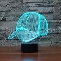 Indios de Cleveland MLB Gorra de Béisbol Equipo de Ilusión 3D Lamparita 7 Que Cambia de Color Led Lámpara de Mesa de Escritorio Aparatos Caseros de la Decoración 3472
